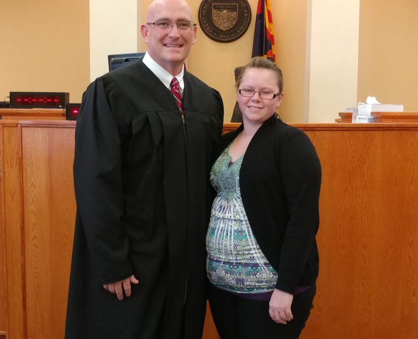 Photograph of Justice of the Peace Shaun Babeu with Youth Program Participant in a Work Experience