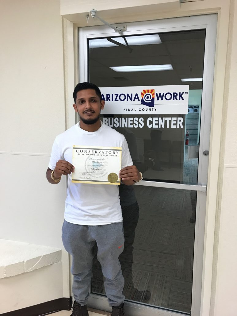 Photography of Youth Program Participant who completed his certificate