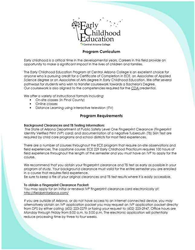 Program Curriculum - Central Arizona College