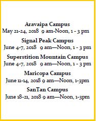 Summer 2018 Math Boot Camp Dates