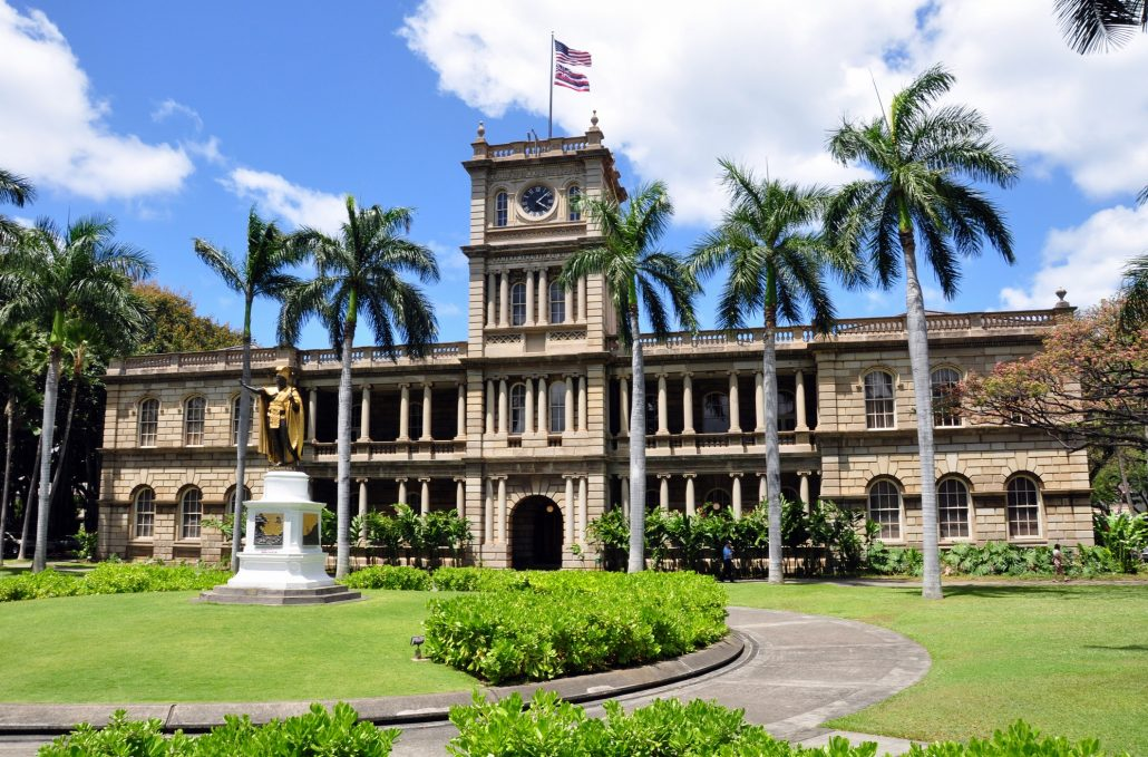 Ali'iolani Hale or House of the Heavenly King was designed as a palace and built in 1874. It was never used and now houses the Supreme Court of Hawaii.