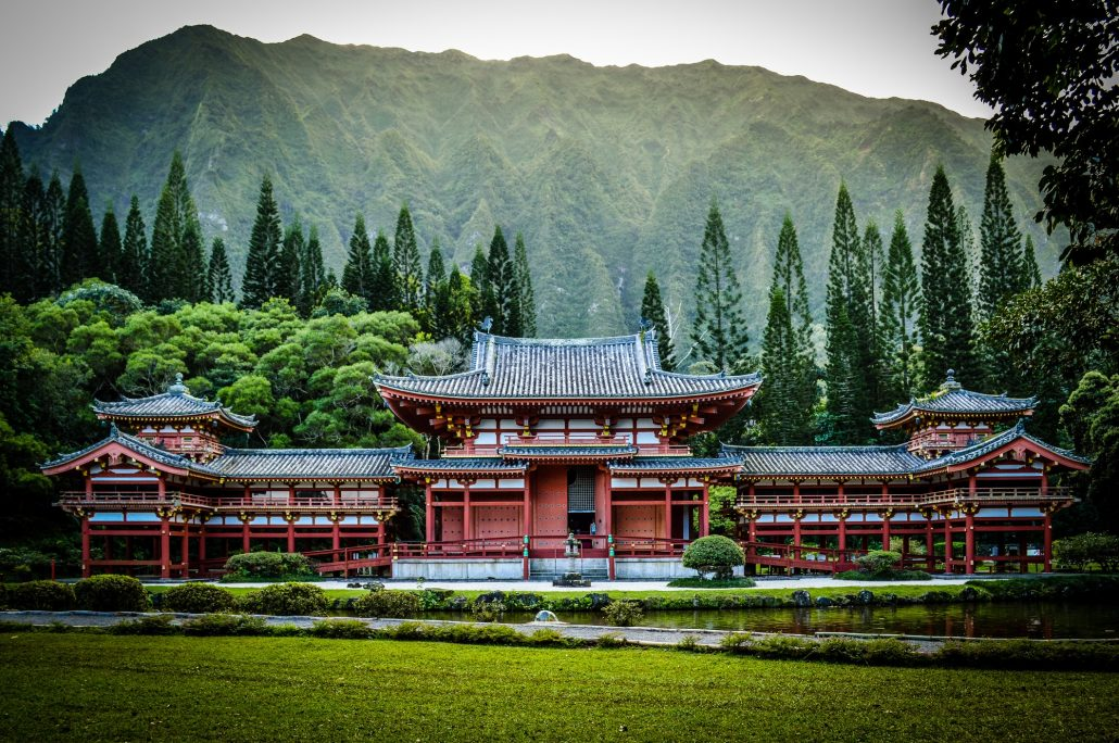 A replica Japanese Temple built in Oahu to commemorate the first Japanese migrants to Hawaii