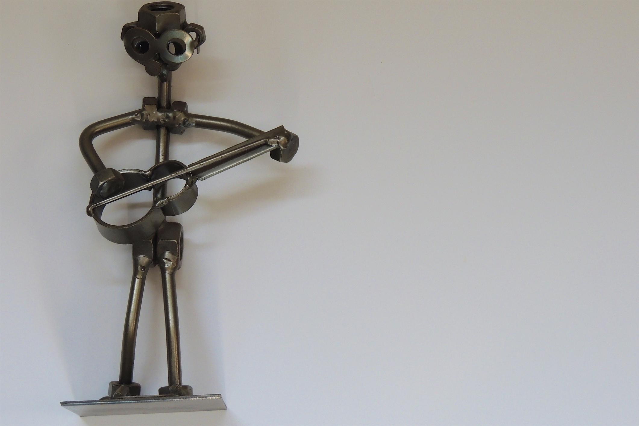 metal guitar statue