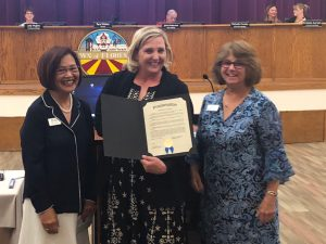 Florence Mayor Presents proclamation to Maggie Dooley and Evelyn Casuga