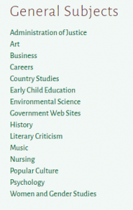 list of all library topic guides