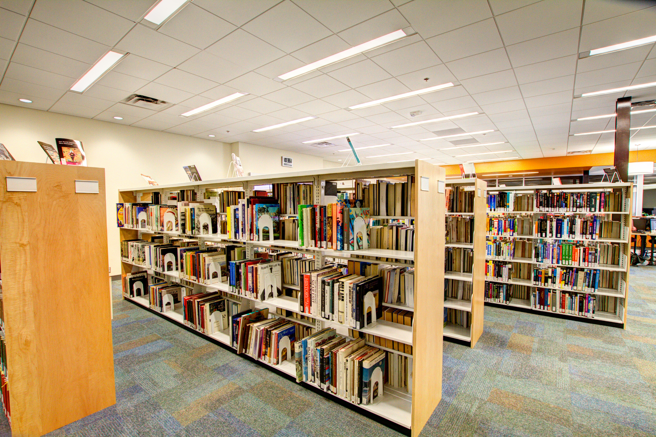 image of book stacks at Aravaipa Campus Library
