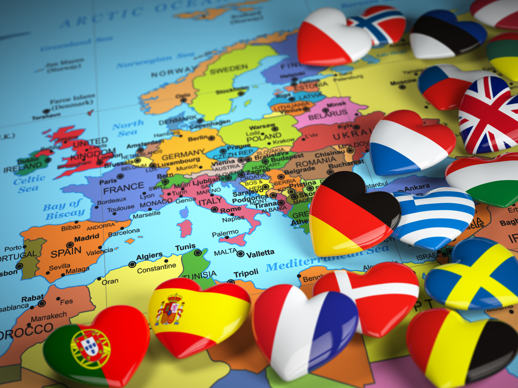 Map of Europe and hearts with flags