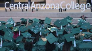 Graduates and Central Arizona College logo