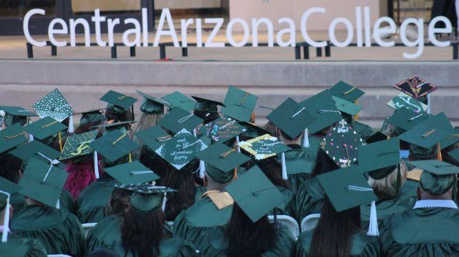 Graduates and Central Arizona College logo