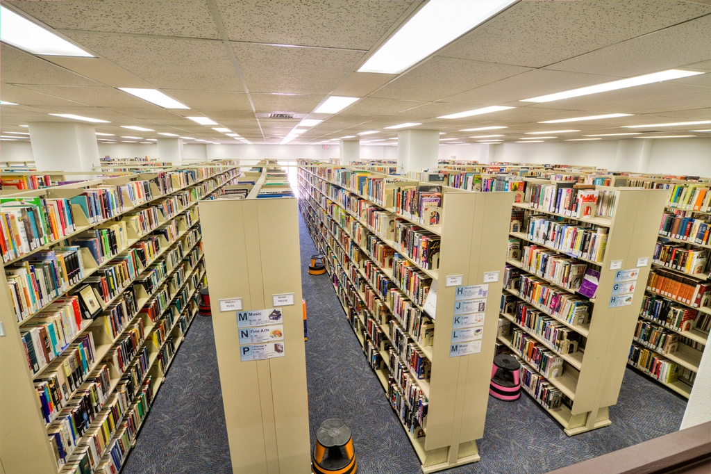 stacks at Signal Peak Campus Library