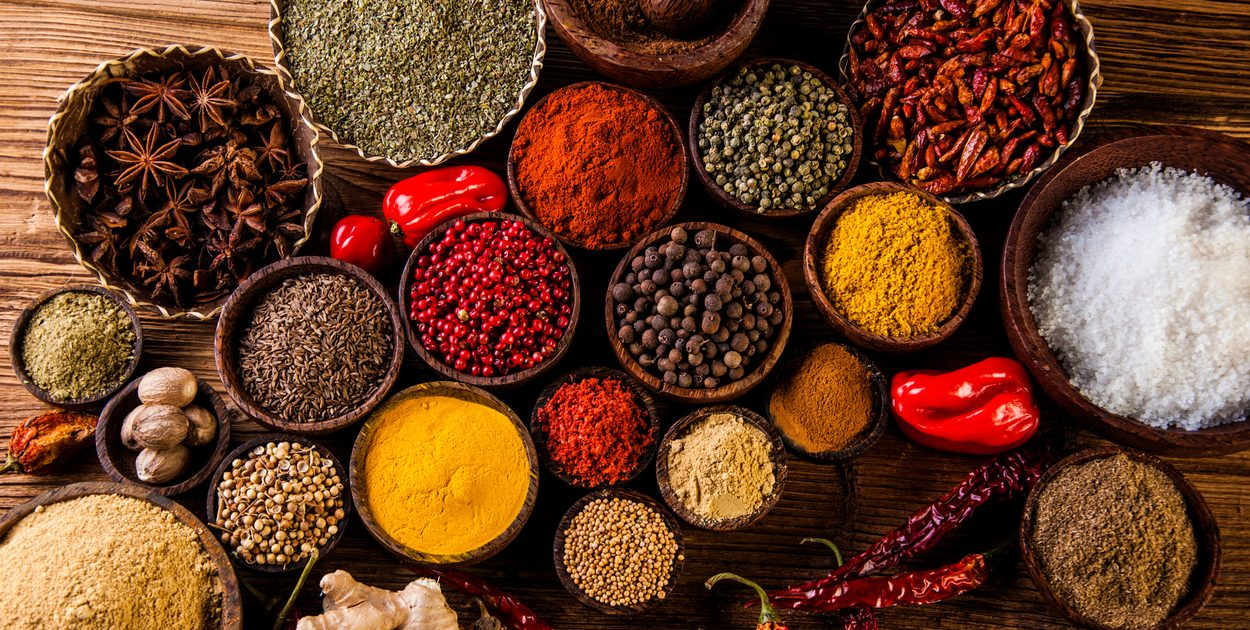 Assorted spices on table