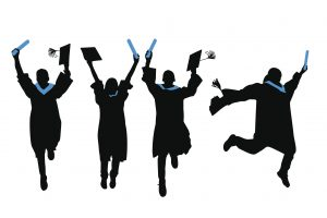 silhoutte of student graduates