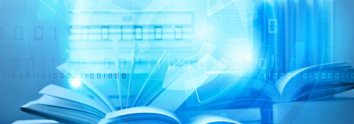 abstract image open book with blue technology background