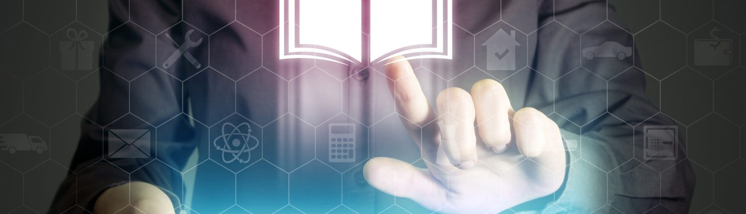digital book image rising from tablet