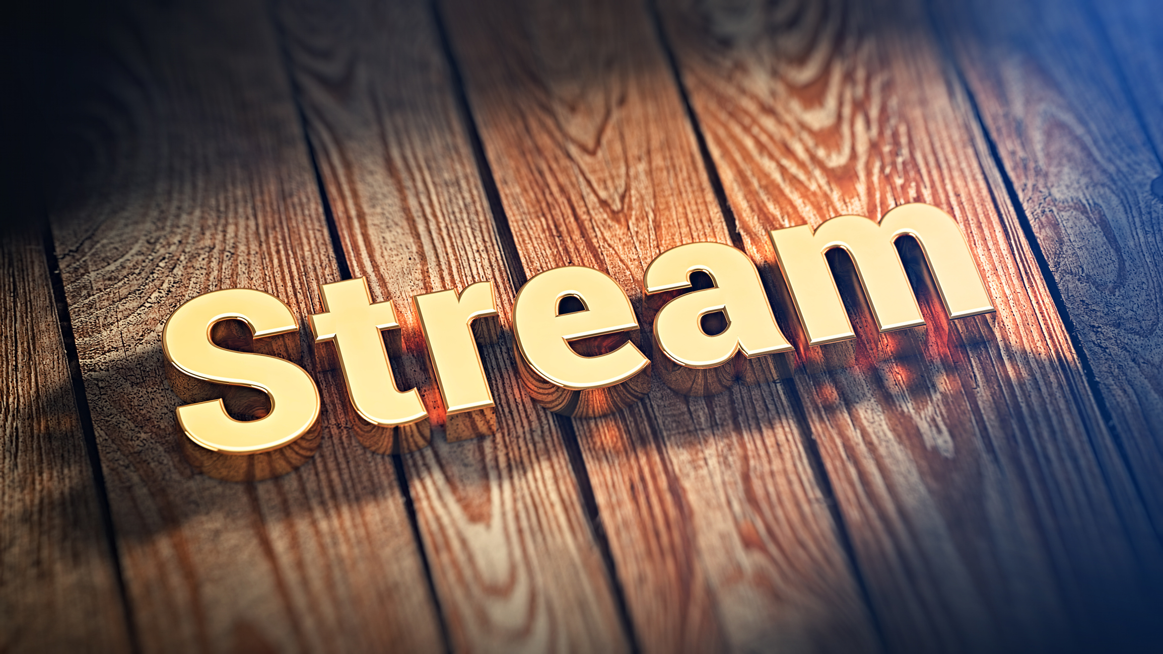 Stream letters on wood slabs