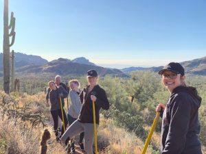 radiologic tech students doing trail maintenance