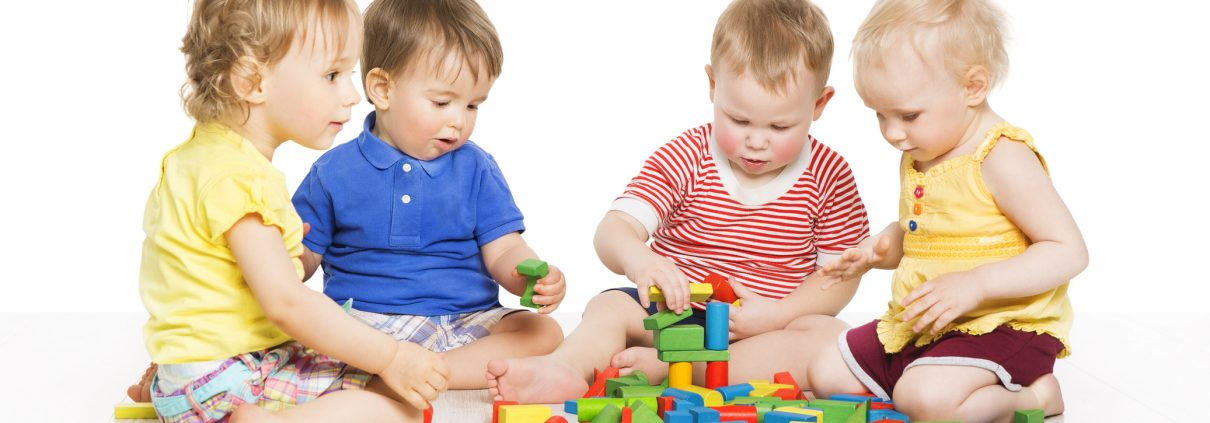 Children Group Playing Toy Blocks. Baby Little Kids Early Development
