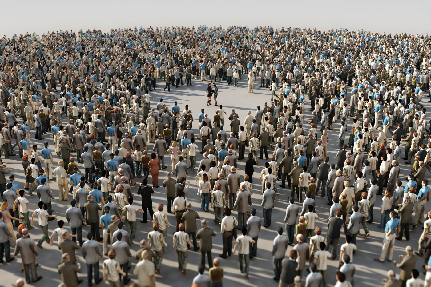 people alone in a crowd