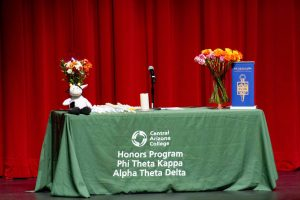 Table on Stage at PTK ceremony