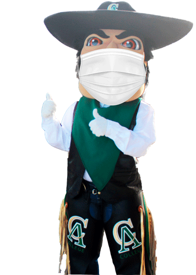 Mascot Vaquero Pete with face covering and giving a thumbs up