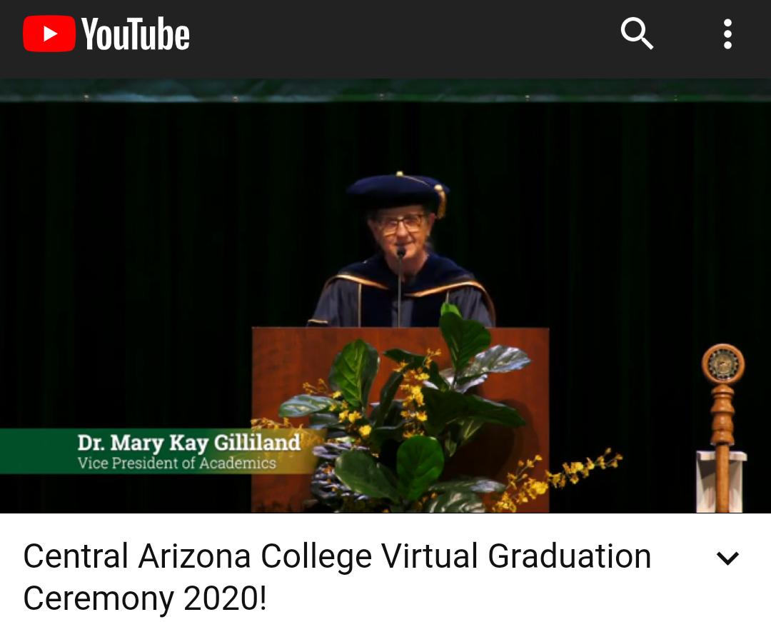 Vice President Mary Kay Gilliland Dec 2020 Virtual Graduation
