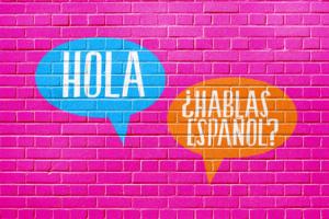 Hola! Hablas Espanol words on wall